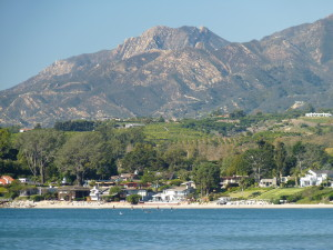 Avocado orchards on Carpinteria's coastline as seen from Santa Claus Beach