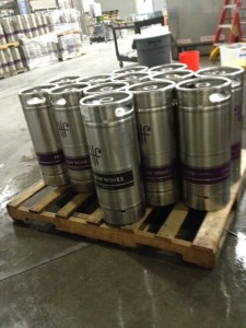 A pallet of Free Flow kegs.  They take care of the transport of kegs across the country.