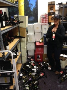 Crying over spilt wine.  These broken sample bottles were the extent of my damage. I was lucky.