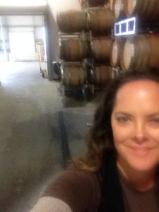 Post-Quake cellar selfie- I'm smiling because our barrels largely came through unscathed.