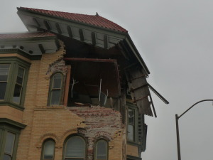 One of the worst casualties- the top floor of the building at the corner of Main and Third St. in downtown Napa.  Repairs are still being made today, but Napkins and Carpe Diem, two restaurants below, are now open for business.