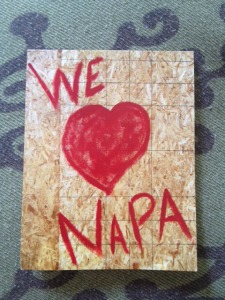 "Postcard created by ""Roost Napa"" owner Patricia Trimble- a photograph of their boarded-up front window downtown.  Available for $1 at theroostnapa.com."