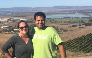 Neeraj and I- looking west towards Carneros, about 589 ft elevation. Happy runners!