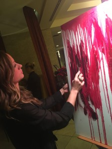 """Painter Penelope Moore captures the flavors of Garnet Vineyards Pinot Noir, among other wines, in visual form in her """"Palette of the Palate"""" work."""