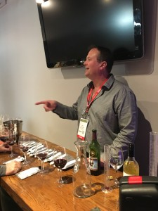 Steve Burch of Radoux Cooperage pours some oak trial wines for Unified attendees
