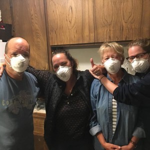 "Day 2 The ""Burnt Toast BnB"" Crew surviving- with masks on. L to Right, John Egerman, Alison Crowe, Sandy Crowe, Jennifer Crowe"