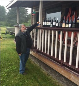 "Ever the educator, here's Dave Stevens ""judging"" an ad hoc ""First Annual Glacier Bay Wine Competition"" in 2016. Sweepstakes winner was the Williams Selyem. Photo Credit Mike Swan"