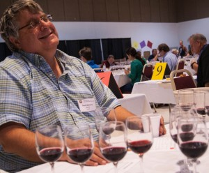 This is how I'll always remember David Stevens- at a wine competition judging table, laughing. Photo credit Mike Dunne