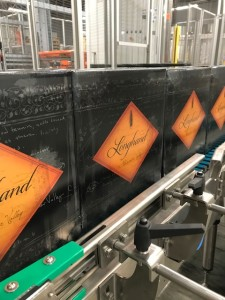 Finished boxes of 2016 Longhand Alexander Valley Cabernet, ready to be loaded onto pallets and shipped out to stores.